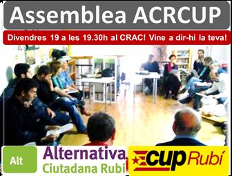 Assemblea ACRCUP divendres 19 a les 19.30h al CRAC!