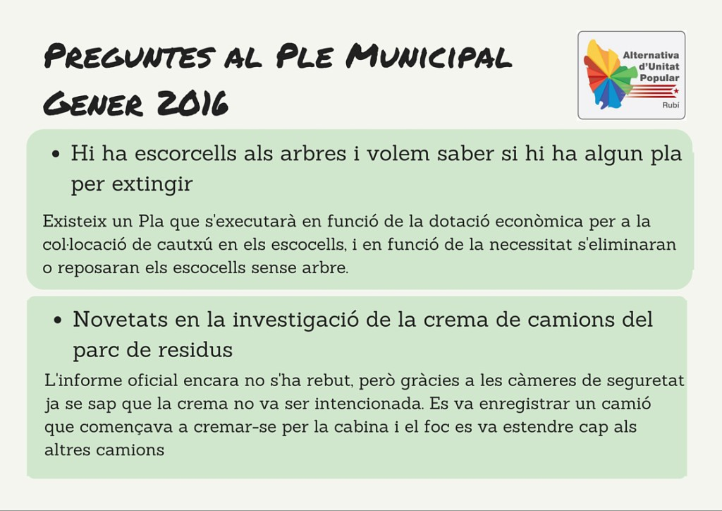 Preguntes a Ple MunicipalFebrer 2016