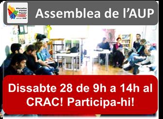 Dissabte 28 a les 9h assemblea de l'AUP